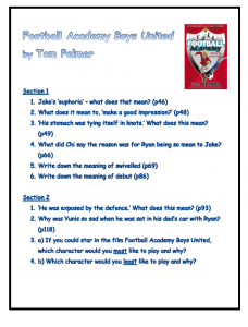 Football Academy Boys United Reading Comprehension